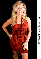 Beautiful Smiling Blonde Lady in a Red Dress