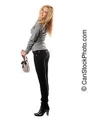 Beautiful smiling blonde with a handbag