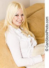 Beautiful smiling blonde woman