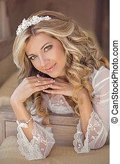 Beautiful smiling bride woman indoor portrait. Makeup and ...
