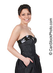 Beautiful smiling brunette in black dress isolated on white
