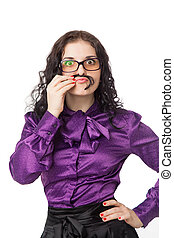 beautiful smiling brunette woman wearing shirt, skirt and glasses making moustache over white background
