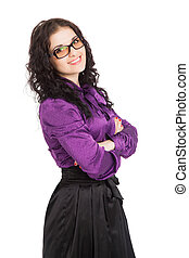beautiful smiling brunette woman wearing shirt, skirt and glasses over white background