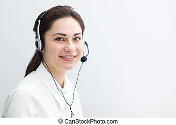 smiling business woman working in a call center