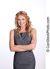 Beautiful smiling businesswoman on white background