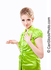 Beautiful smiling casual woman in green on isolated white