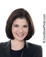 beautiful smiling caucasian business woman portrait - one...