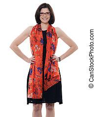 beautiful smiling caucasian woman glasses portrait