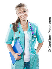 beautiful smiling female doctor lloking at camera isolated...