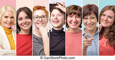 Beautiful smiling female face only collage. Woman power. Studio shot.