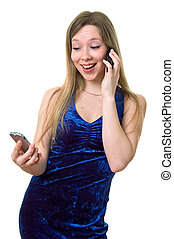 smiling girl in blue dress with two cellular