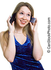 girl in blue dress with two cellular