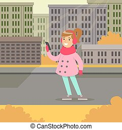 Beautiful smiling girl in fashion clothes walking with smartphone on a city background vector illustraion