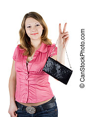 Beautiful smiling girl with a handbag. Isolated