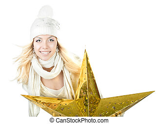beautiful smiling girl with a star