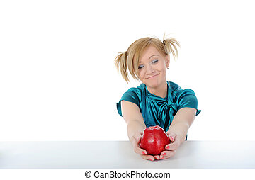 Beautiful smiling girl with an apple.