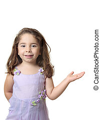 Beautiful smiling girl with one hand outstretched