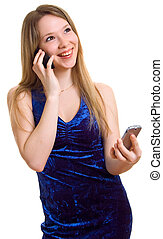 beautiful smiling girl with two cellular phones