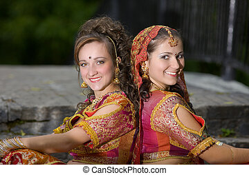 beautiful smiling girls - traditional indian dress