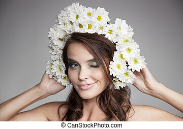 Beautiful Smiling Happy Woman With Fower Wreath On Her Head.