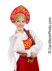 beautiful  smiling russian girl in folk costume