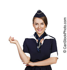 Beautiful smiling stewardess isolated on a white background