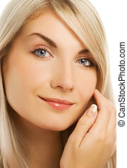 Beautiful smiling woman close-up portrait