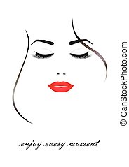 beautiful smiling woman face with closed eyes and red  lips, isolated on the white background, vertical vector illustration