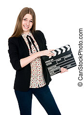 Beautiful smiling woman holding a movie clapper