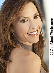 Beautiful Smiling Woman In Her Thirties - Outdoor portrait ...