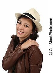 Beautiful Smiling Woman in Leather Jacket