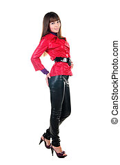 beautiful smiling woman in leather pants.