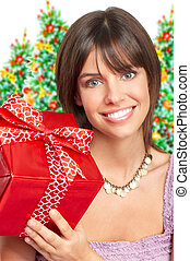 woman with a Christmas gift