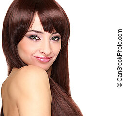 Beautiful smiling woman with long hair looking. Closeup isolated portrait