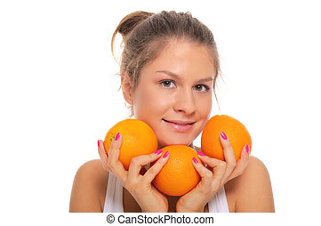 Beautiful smiling woman with orange