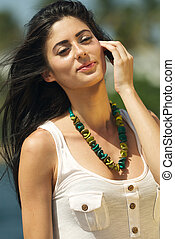 Beautiful Smiling Young Dark haired Woman