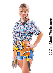 Beautiful smiling young female construction worker on white