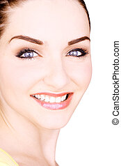 Beautiful smiling young woman - A close up of a beautiful...