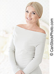 Beautiful smiling young woman close-up