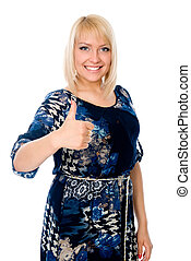 Beautiful smiling young woman close-up raises thumbs up