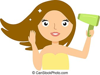 Beautiful smiling young woman drying her hair with hairdryer vector illustration
