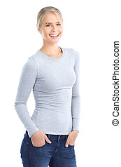 young woman - Beautiful smiling young woman. Isolated over...