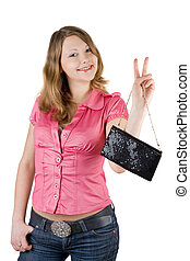 Beautiful smiling young woman with a handbag. Isolated