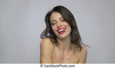 beautiful smiling young woman with red lipstick - beauty,...