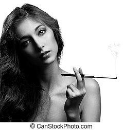Beautiful smoking woman. BW Image