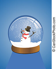 vector illustration of a snowman in a snow dome