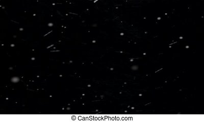 Beautiful Snowfall Isolated on Black Background.