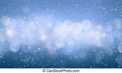 Beautiful Snowfall Side Wind Blowing Seamless on Blue Bokeh...