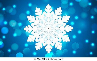 beautiful snowflake on blue bokeh background