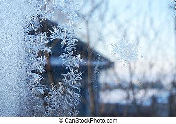 beautiful snowflake on the window